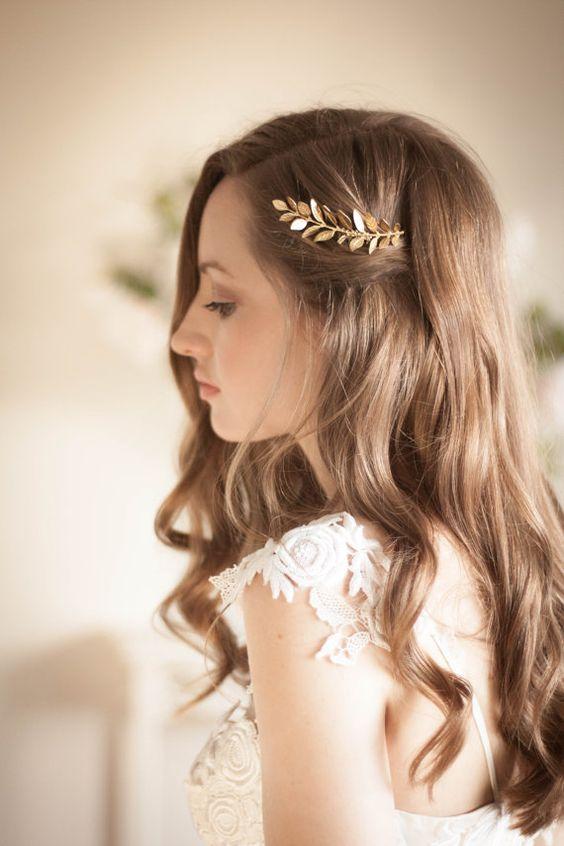 Laurel Leaf Mini Comb, Gold, Rose Gold, Silver comb, Gold leaf comb, leaf clip…
