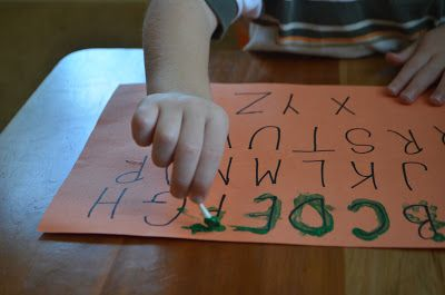 Creative Curriculum Objectives 19, 40, 46    Paint the alphabet with a q-tip.  This can also be done with a student's name or other word of significance.  Student will control small muscles in hand to trace letters with paint.  While student is completing this activity, talk or sing about the letter being painted.