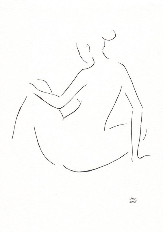 This is an original pen and ink drawing. An elegant nude figure is given with just few lines, and the artwork would suit well into any bedroom interior.: