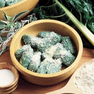 "... Stranglers"": swiss chard dumplings with sage and parmesan cheese"