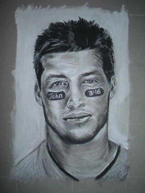 #charcoal #portrait of #TimTebow