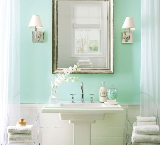Seafoam green bathroom like the colour combo for my for Green bathroom paint colors