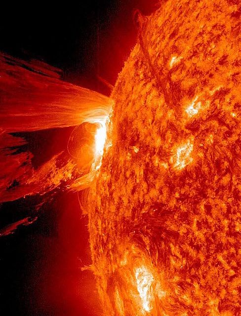 Crazysauce high-definition coronal mass ejection from of the sun, photographed by NASA this afternoon.
