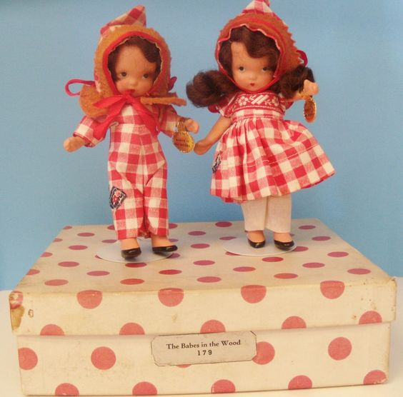 Rare BABES IN THE WOODS Nancy Ann Storybook Doll Bisque Pair w/Box & Tags SUPER! #NancyAnnStorybook #DollswithClothingAccessories