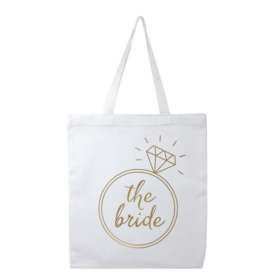 white and gold bride tote bag