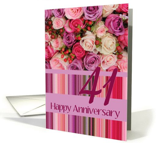41st Wedding Anniversary Card Pastel Roses And Stripes Card