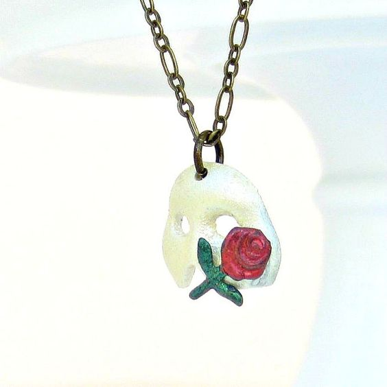 Phantom of the Opera Mask Necklace, Costume, Ball, Red Rose, Pearl White on Etsy, $22.95