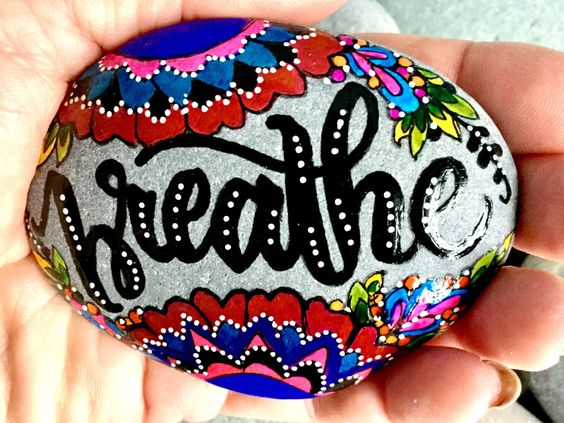 Breathe in, breathe out from my Etsy shop https://www.etsy.com/listing/490957648/breathe-in-breathe-out-painted-rocks
