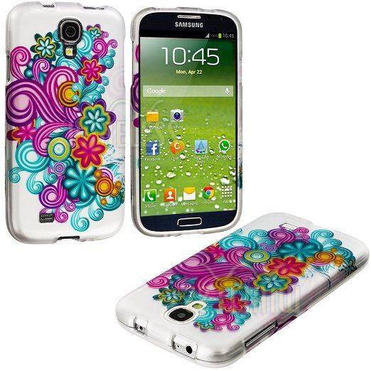 """Amazon.com: myLife (TM) Hippie Flower Power Series (2 Piece Snap On) Hardshell Plates Case for the Samsung Galaxy S4 """"Fits Models: I9500, I9..."""