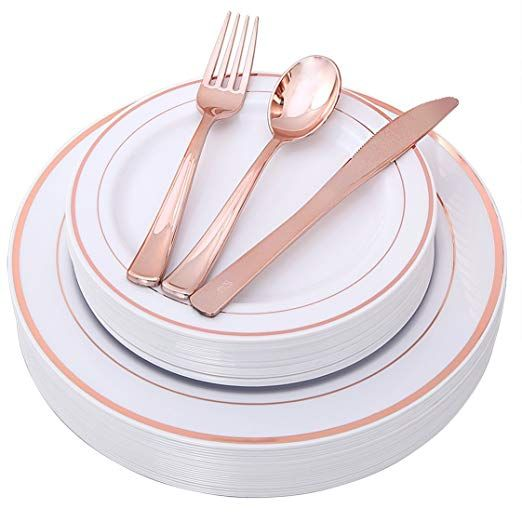 100 Piece Rose Gold Plates With Disposable Plastic Silverware Elegant Tableware Set Includes 2 Gold Dinnerware Disposable Wedding Plates Gold Plastic Plates