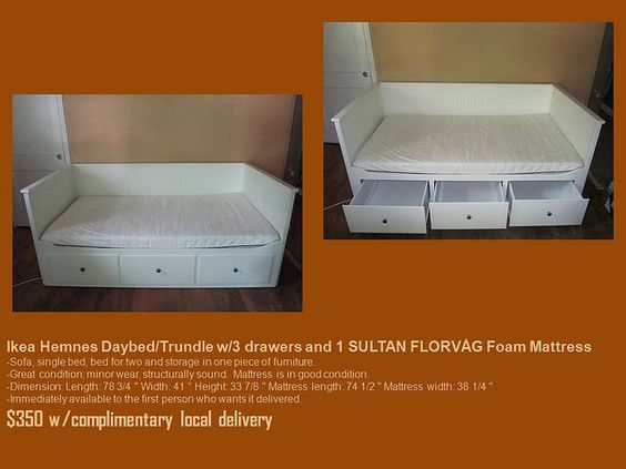 Ikea hemnes daybed trundle w 3 drawers and 1 sultan for Trundle mattress ikea
