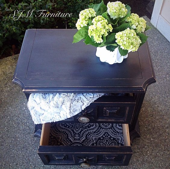 Vintage Nightstand Painted In Black Chalk Paint Distressed Waxed And New Knobs From Hobby