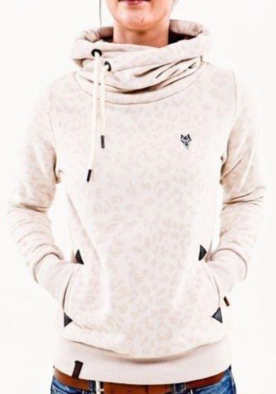 Crème Weißes Leopard Taschen Cowl Neck Tunnelzug Pulli