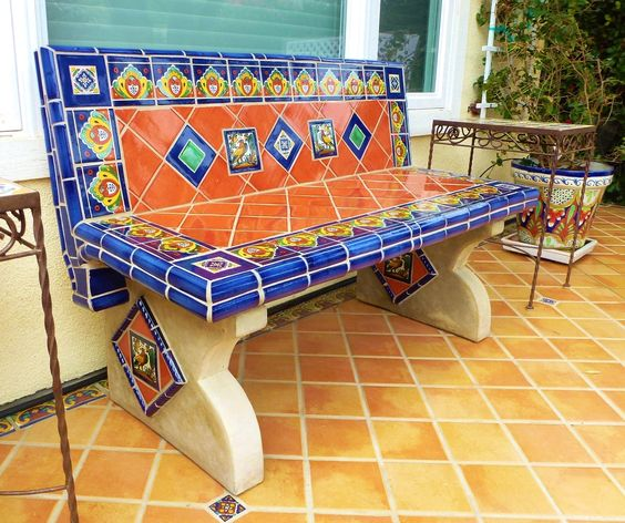 Bench Using Mexican Tiles By Kristiblackdesigns.com