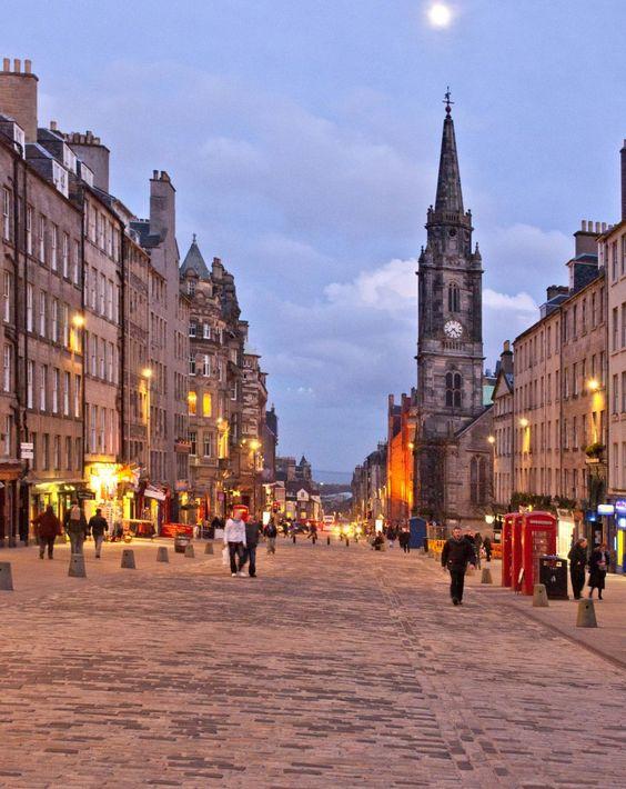 The Royal Mile in Edinburgh, Scotland,:
