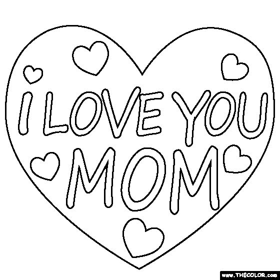 I Love You Mom Coloring Page | - 48.1KB