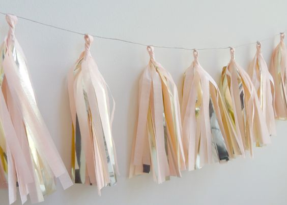 Peach and Metallic Gold Tissue Tassel Garland  by onestylishparty, $30.00