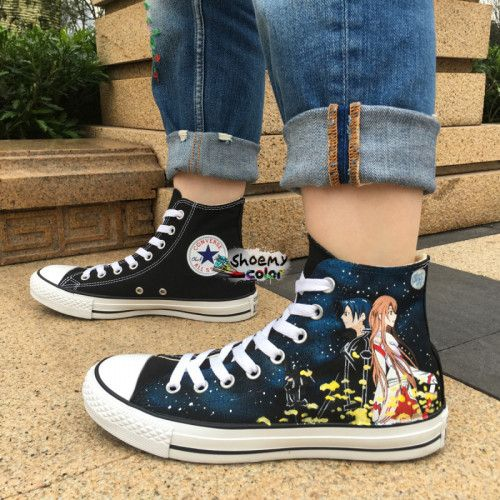 Anime Converse Shoes Sword Art Online Hand Painted Canvas Sneaker