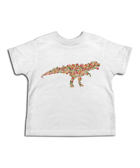 Look at this White Floral Dino Tee - Toddler & Girls on #zulily today!