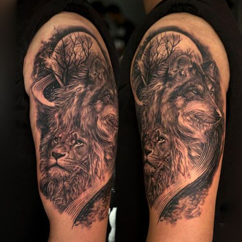 Wolf And Lion Tattoo Sleeve