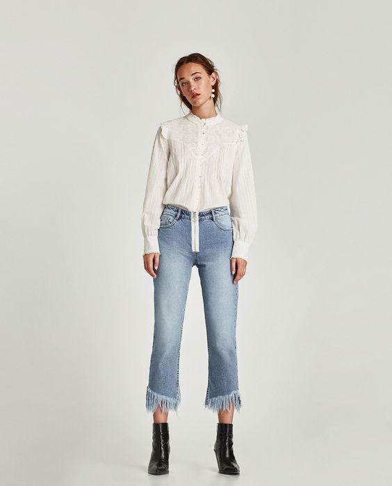 ZARA - WOMAN - CONTRAST GUIPURE TOP