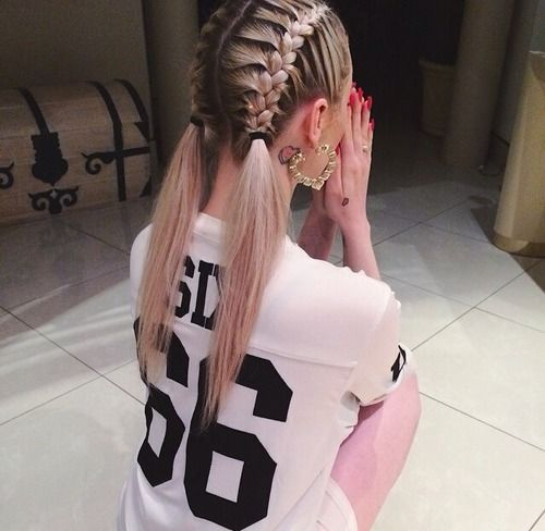 2 Braids going into ponytails