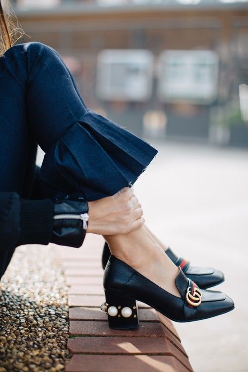 heeled loafers Gucci adorable ruffled denim street style chic