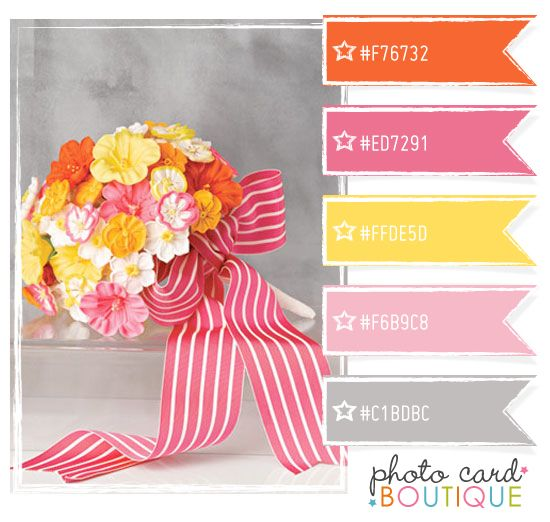 Pink, yellow and coral orange