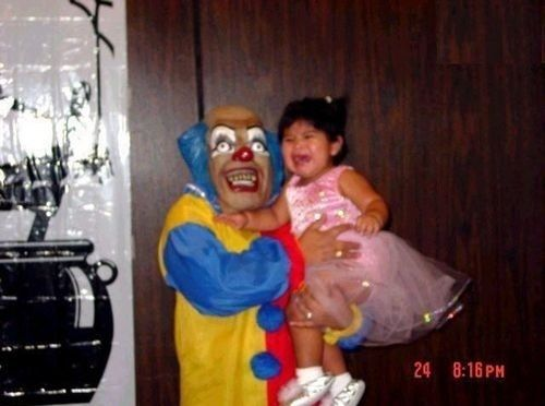 Poor Baby, her moma should punch that clown for scaring her baby girl!!