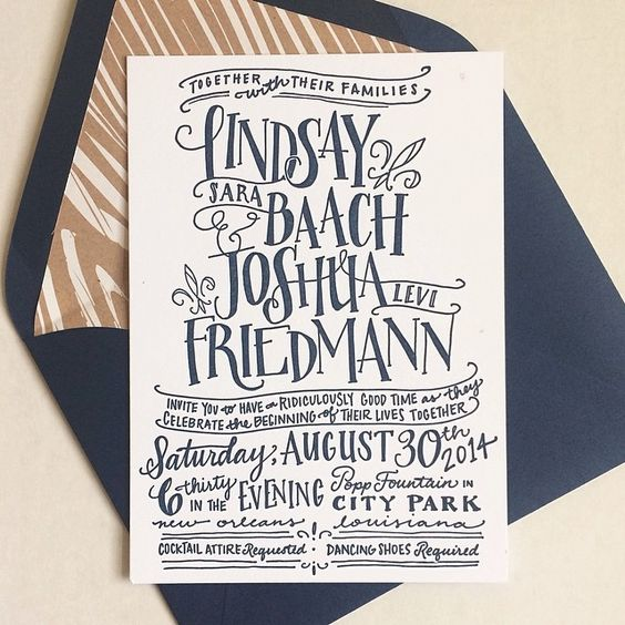 LOVE the wood grain liners! Handlettered Wedding Invitation by Liz Maute Cooke #stationery