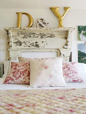 Old mantel as headboard - how cool!  Really love this idea.  Especially being able to set things on top of it.