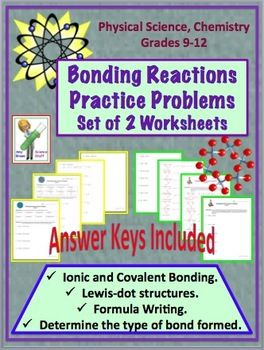 Worksheets Physical Science Worksheets High School chemical bonding reactions ionic and covalent practice problems level 1 2 for high school physical science and