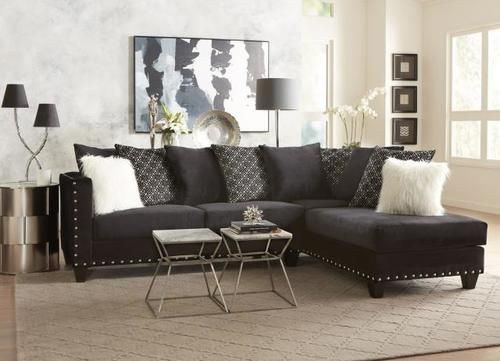 Delta Furniture Implosion Black Sectional Sofa Living Room