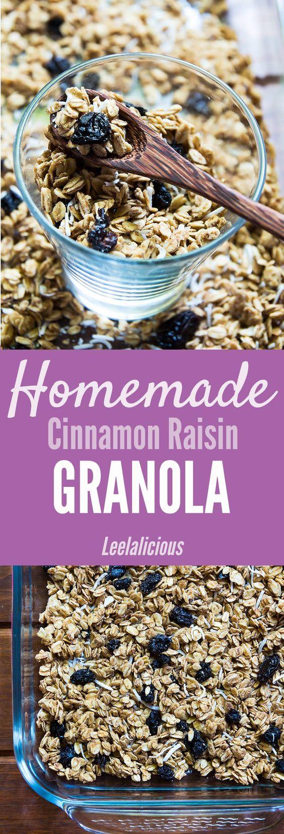 Homemade Cinnamon Raisin Granola | Eating Vegan, Granola and Gluten ...