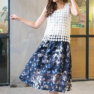 Set: Sleeveless Lace Top + Floral Skirt from #YesStyle <3 Hamoon YesStyle.com