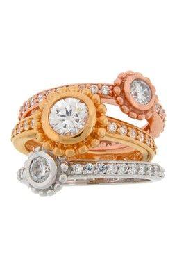 HauteLook   Dazzling Jewelry Treasures: Stacking CZ Ring Set