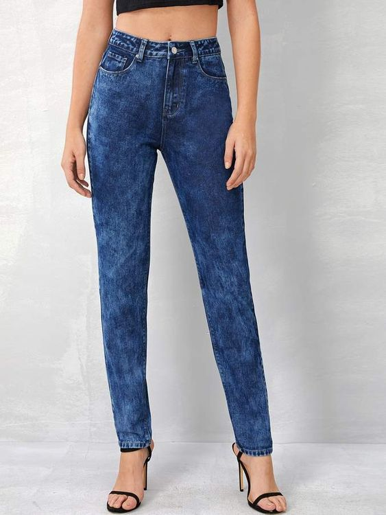 Shein Dark Wash Tapered Jeans