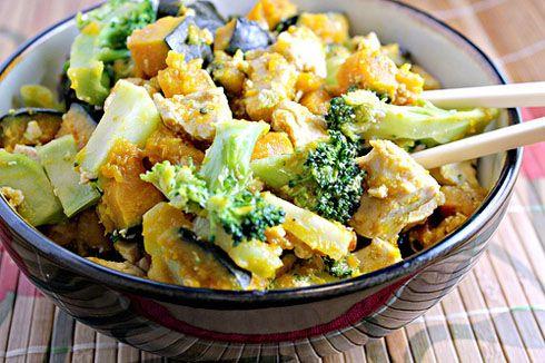 maple miso glazed tofu with broccoli and winter squash