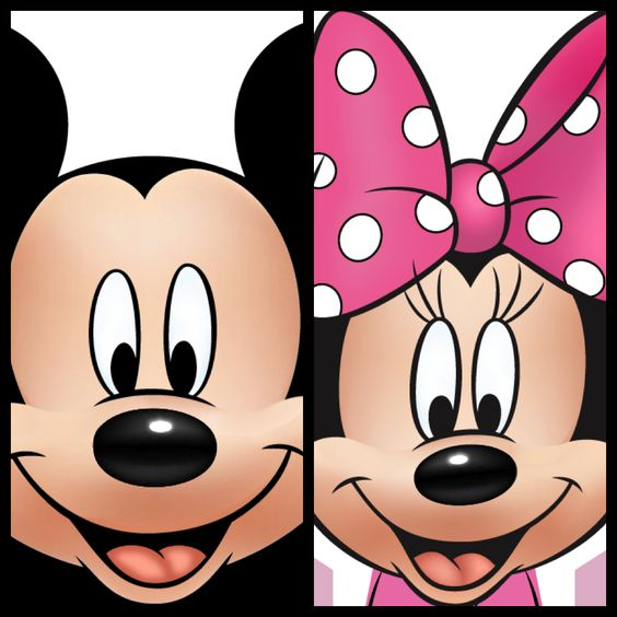 Free Printable Mickey and Minnie from http://mydisneylifebymelissa.blogspot.com. Make a kids mask or door decor for your hotel room