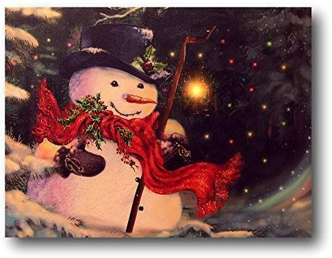 Amazon Com Banberry Designs Light Up Snowman Picture Led Christmas Canvas Print Snowmen Wall Christmas Canvas Floral Wall Art Canvases Canvas Wall Hanging