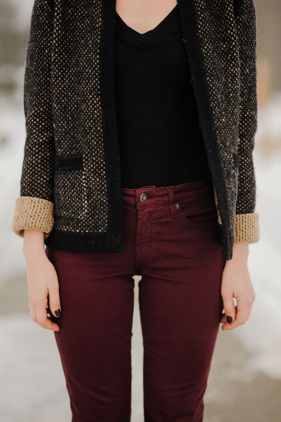 Burgundy Denim: