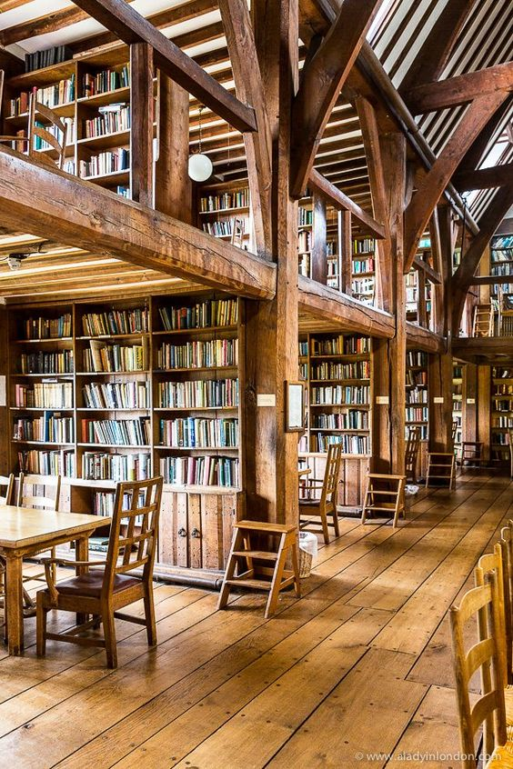 Bedales Memorial Library in Hampshire, England was designed by Ernest Gimson and is one of the most famous examples of Arts and Crafts movement architecture in Britain.  #architecture #library #artsandcraftsmovement #hampshire #england