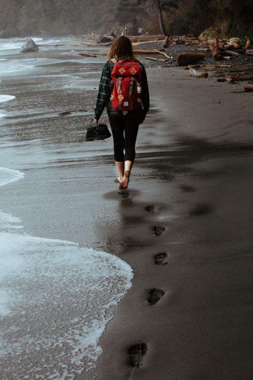 Black sand beach hiking.