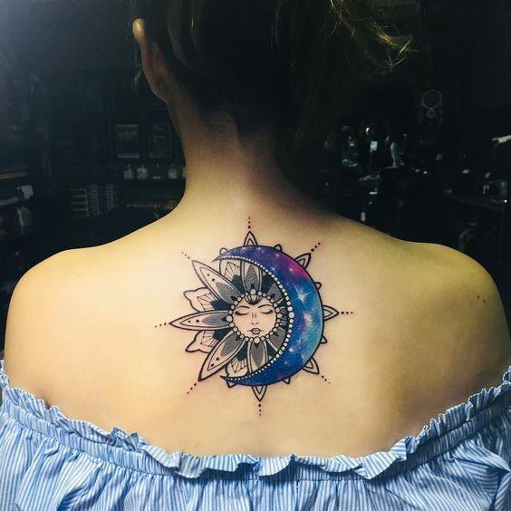 Aquarelle Soleil Et Lune Tatouage Tatouage Tatouage Celeste