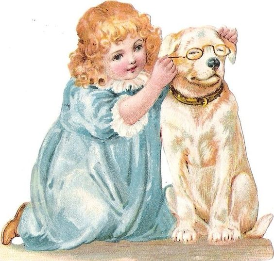 Oblaten Glanzbild scrap die cut chromo Kind child Hund dog girl Mädchen Brille: