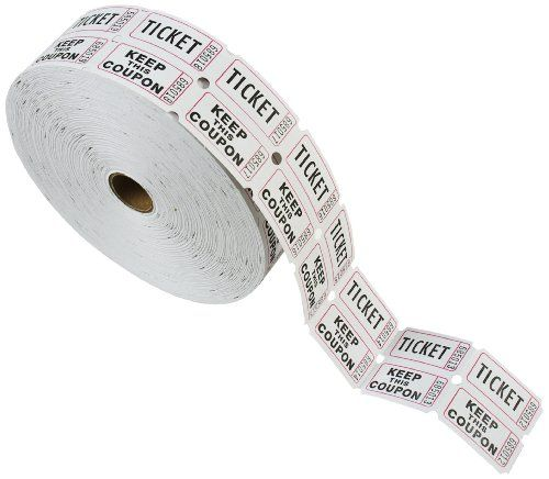 PM Company Double Deposit One, Keep One Ticket Roll, White, 1 Roll - blank ticket