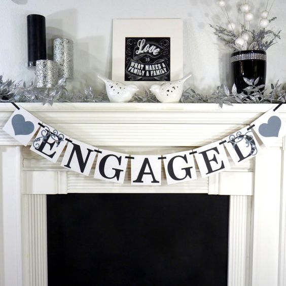 Engaged / Wedding Banner / Garland Sign Engagment by BannerCheer, $19.75
