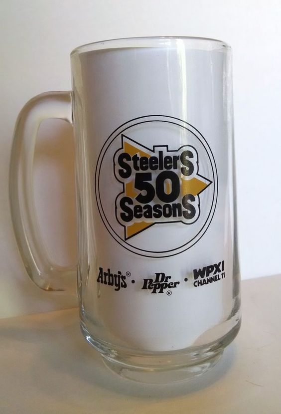 Pittsburgh Steelers 50 Seasons Gold Cup Clear Glass Beer Mug by Arbys & WPXI