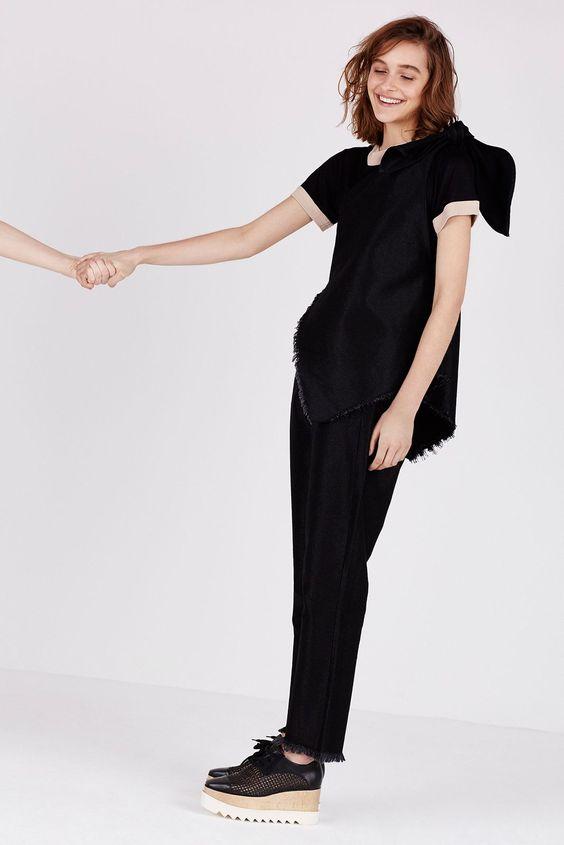 coordinated denim w/frayed hems   marques' almeida + shoes by stella mccartney