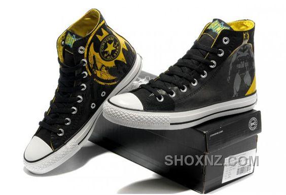 Chuck Taylor DC Comics CONVERSE Batman Graffiti Print Black Yellow Canvas Shoes EjzhH